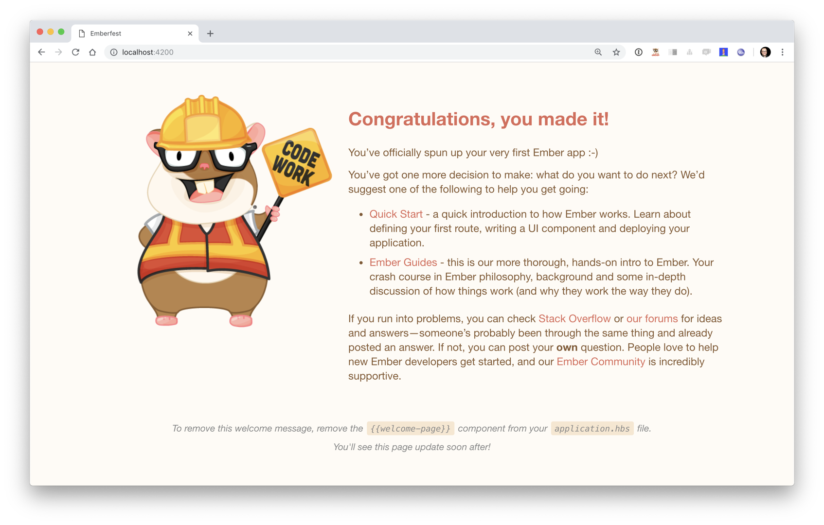 Ember Welcome Page